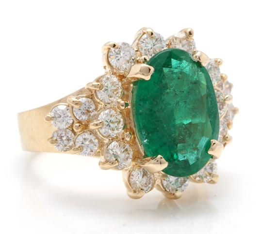 Other 5.70Ct Natural Emerald & Diamond 14K Solid Yellow Gold Ring Image 1