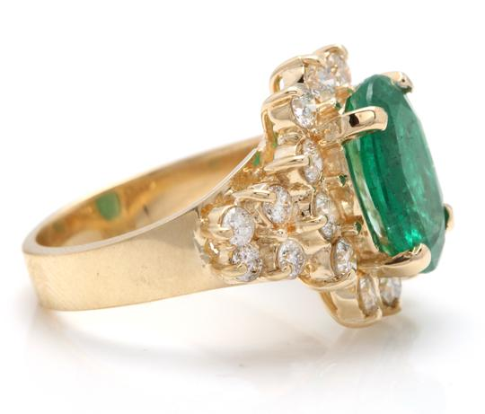 Other 5.70Ct Natural Emerald & Diamond 14K Solid Yellow Gold Ring Image 2