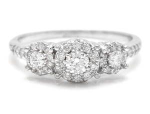Other 0.85 Carats Natural Diamond 14K Solid White Gold Band Ring