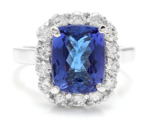 Other 5.00 Carats NATURAL TANZANITE and DIAMOND 14K White Gold Ring