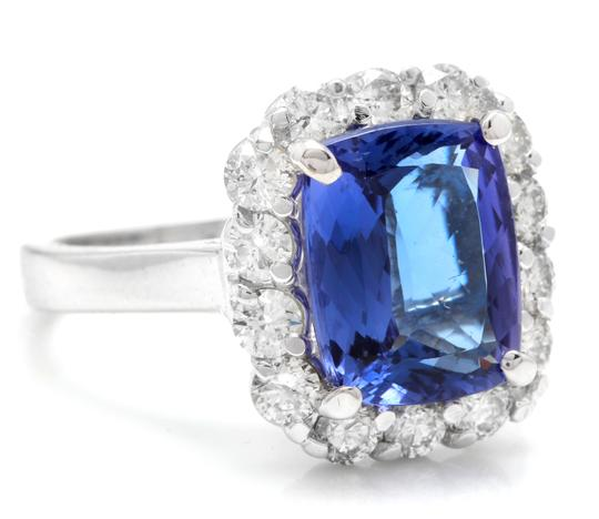 Other 5.00 Carats NATURAL TANZANITE and DIAMOND 14K White Gold Ring Image 1