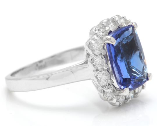 Other 5.00 Carats NATURAL TANZANITE and DIAMOND 14K White Gold Ring Image 2