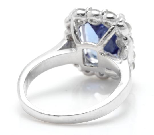 Other 5.00 Carats NATURAL TANZANITE and DIAMOND 14K White Gold Ring Image 3