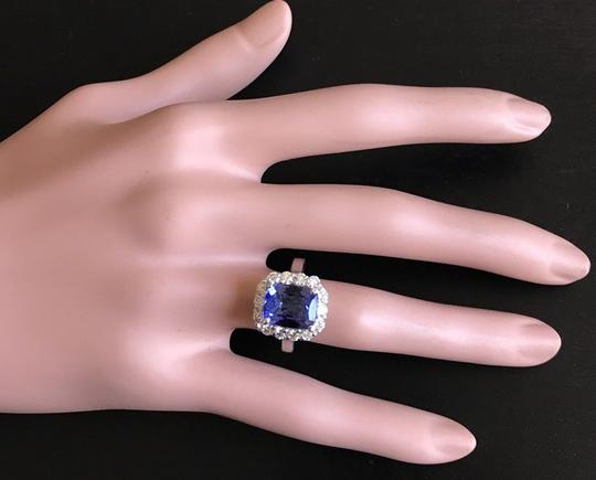 Other 5.00 Carats NATURAL TANZANITE and DIAMOND 14K White Gold Ring Image 4
