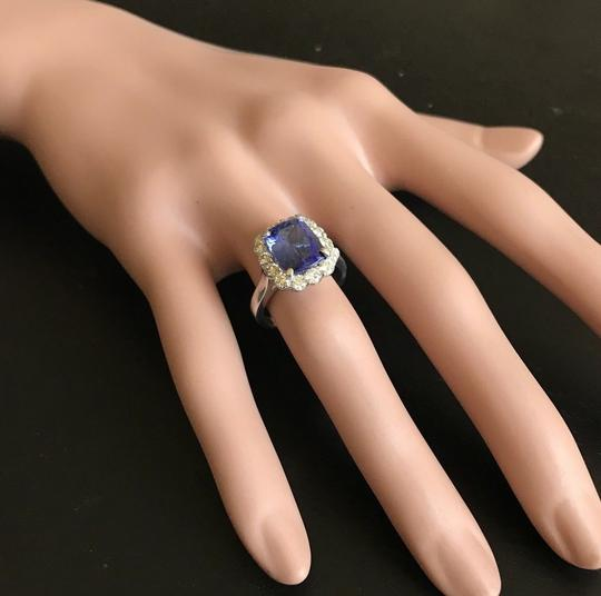 Other 5.00 Carats NATURAL TANZANITE and DIAMOND 14K White Gold Ring Image 5