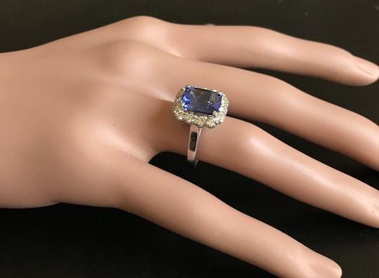 Other 5.00 Carats NATURAL TANZANITE and DIAMOND 14K White Gold Ring Image 6