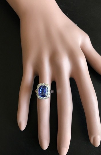 Other 5.00 Carats NATURAL TANZANITE and DIAMOND 14K White Gold Ring Image 7