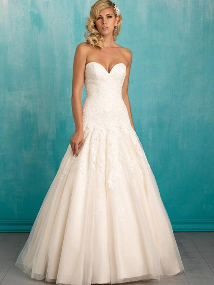 Allure Bridals Ivory/Gold Lace 9314 Traditional Wedding Dress Size ...