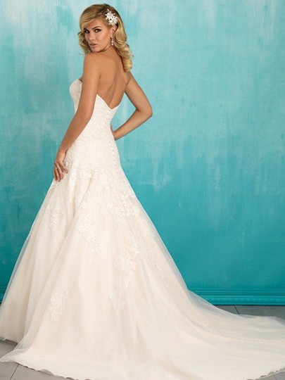 Allure Bridals Ivory/Gold Lace 9314 Traditional Wedding Dress Size 18 (XL, Plus 0x) Image 9