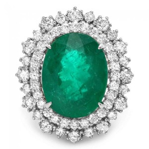 Other 9.10Ct Natural Emerald & Diamond 14K Solid White Gold Ring