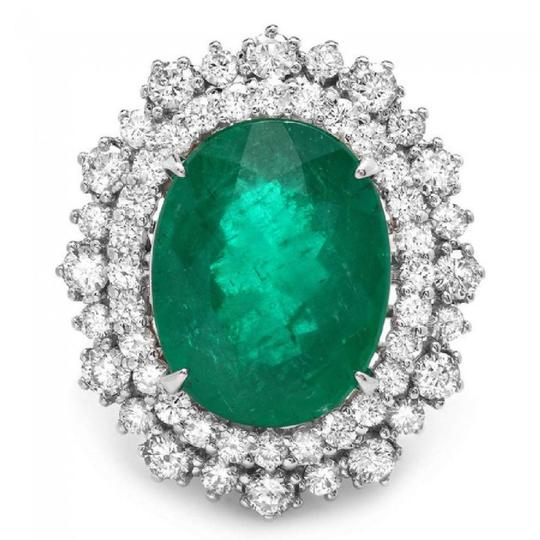 Preload https://img-static.tradesy.com/item/22935629/white-gold-910ct-natural-emerald-and-diamond-14k-solid-ring-0-0-540-540.jpg