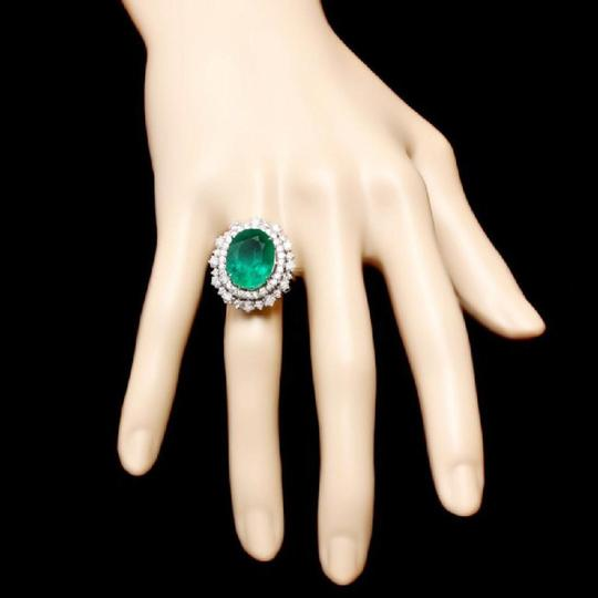 Other 9.10Ct Natural Emerald & Diamond 14K Solid White Gold Ring Image 2