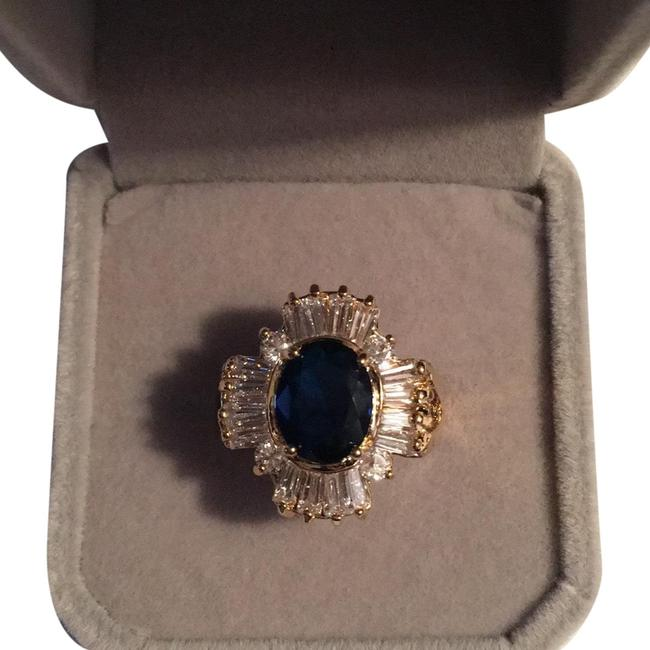 Item - Blue Sone/ Clear Cz Baguettes Ladies Plated Green Ring
