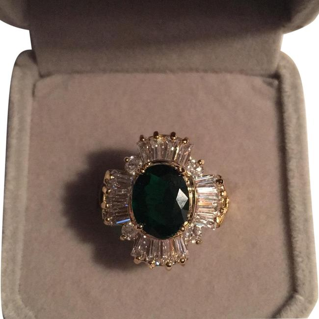 Item - Green Stone/ Cz Baguettes Ladies Plated Ring
