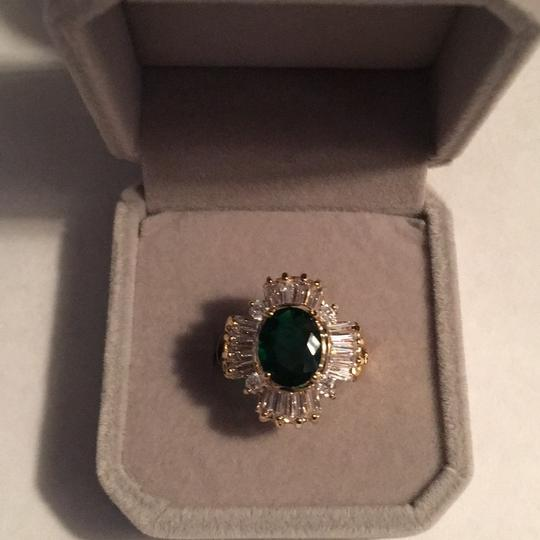 Queenesthershop Ladies Gold Plated Green Stone CZ Baguettes Image 1