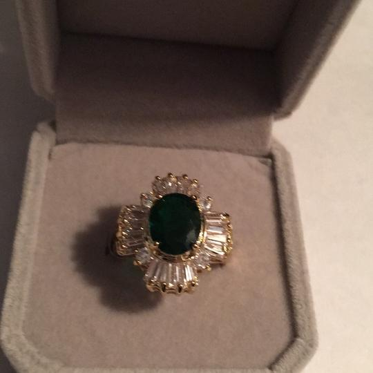 Queenesthershop Ladies Gold Plated Green Stone CZ Baguettes Image 2