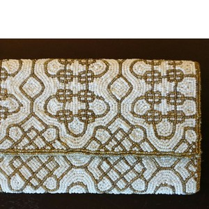 Forever New Ivory and Gold Clutch