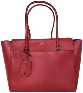 Tory Burch Everyday Work Tablet Laptop Tote in Cherry Apple/ Royal Navy