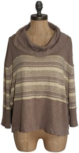 Free People We The Cowl Neck Slouchy Vince Top BEIGE CREAM