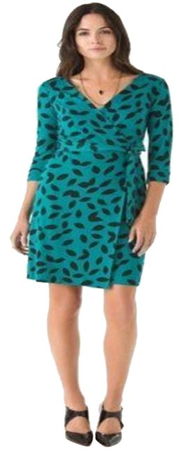 Item - Teal/Black Jersey Dvf New Julian Two Silk Wrap Leaves Print Mid-length Casual Maxi Dress Size 2 (XS)
