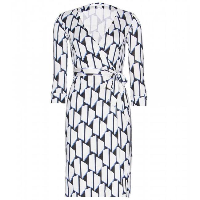 Blue/White/Black Maxi Dress by Diane von Furstenberg Dvf Wrap Silk Julian Jersey Image 3