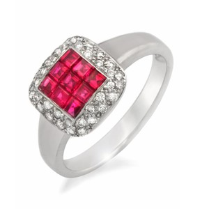 Luxo Jewelry 1.16 CT Invisible Set Ruby & 0.32 CT Diamonds in 18K White Gold Ring