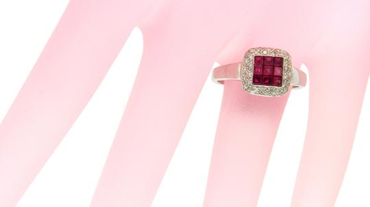Luxo Jewelry 1.16 CT Invisible Set Ruby & 0.32 CT Diamonds in 18K White Gold Ring Image 1