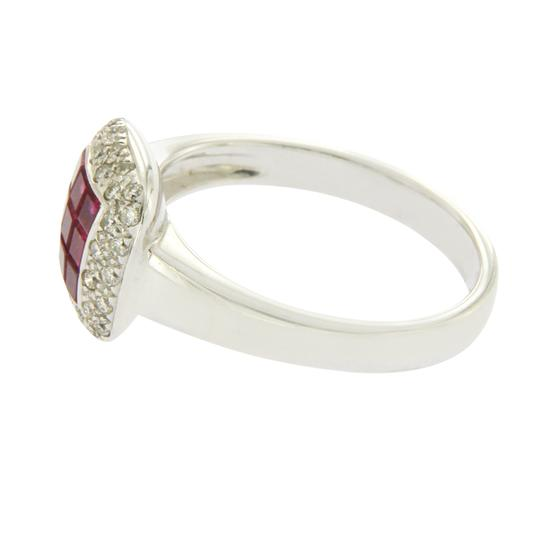 Luxo Jewelry 1.16 CT Invisible Set Ruby & 0.32 CT Diamonds in 18K White Gold Ring Image 2