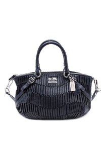 Coach Italian Pleated 15942 Medium Satchel in Midnight Navy Blue and Silver
