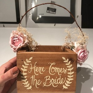 David's Bridal Wood/Tan Here Comes The Bride Flower Girl Basket