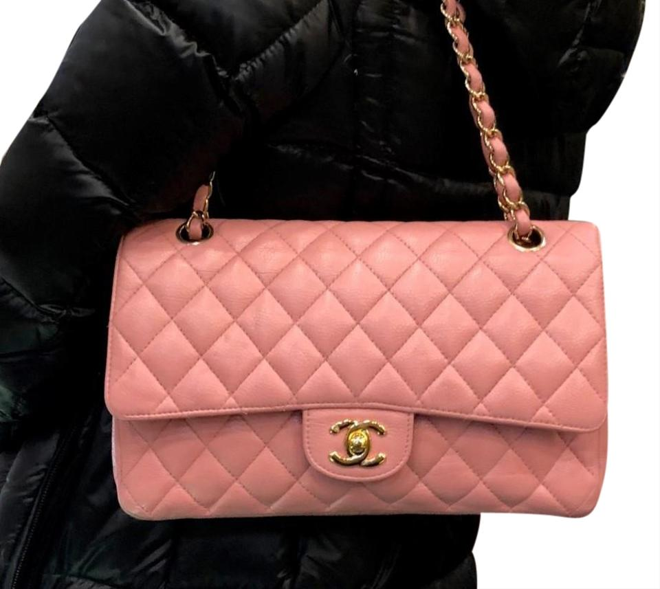 e1a37d73e590ec Chanel Classic Flap Quilted Caviar Medium Gold Hardware Pink Leather ...