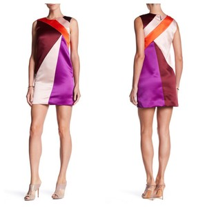 MILLY Colorblock Shift Milly12 Maroon Dress