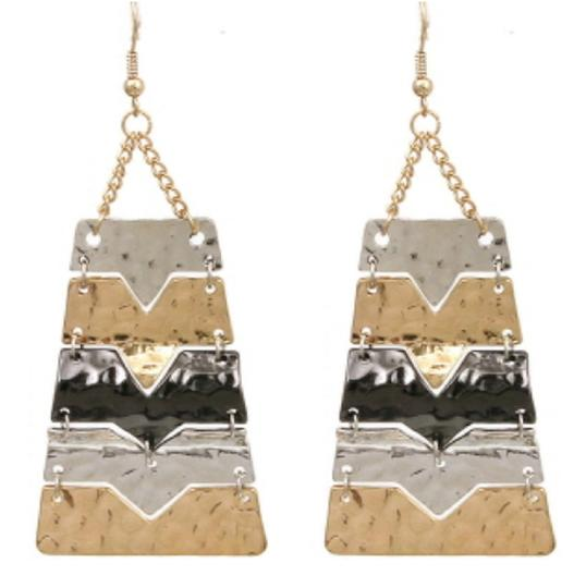 JEWELRYMAKEOVERPARTY Silver Gold Hematite Multi-Color Earrings Image 2