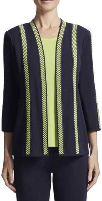 Misook Navy/Chartreuse Jacket Image 0