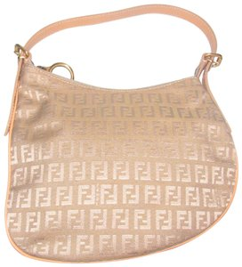 Fendi Shoulder Bag/Hobo Brushed Gold Accents Mint Condition 'oyster' Hobo Bag