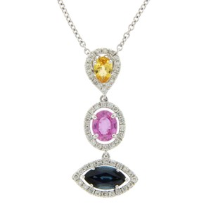 Luxo Jewelry 3.12 CT Natural Multi Stones & 0.55 CT Diamonds 14K Gold Drop Necklace