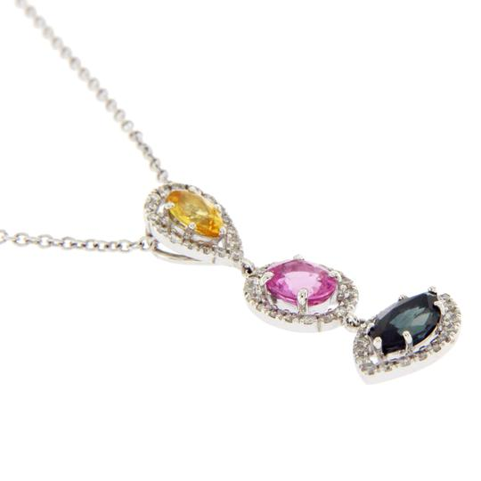 Luxo Jewelry 3.12 CT Natural Multi Stones & 0.55 CT Diamonds 14K Gold Drop Necklace Image 2