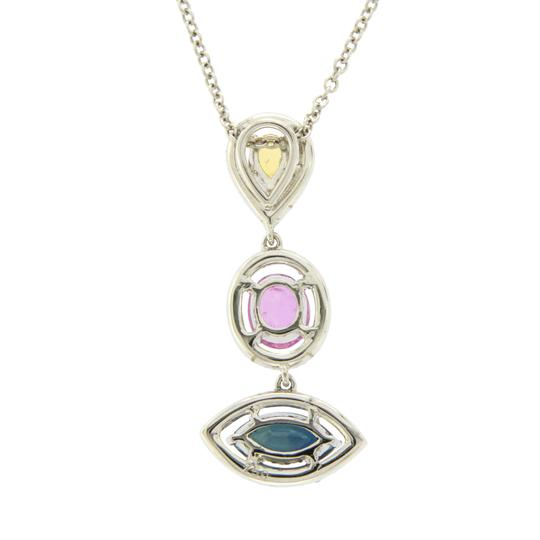 Luxo Jewelry 3.12 CT Natural Multi Stones & 0.55 CT Diamonds 14K Gold Drop Necklace Image 4