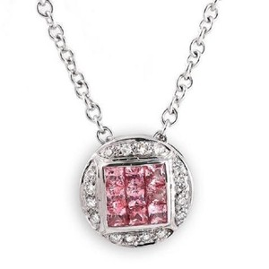 Luxo Jewelry 0.68 CT Natural Pink Sapphire 0.10 CT Diamonds 14K Gold Round Necklace