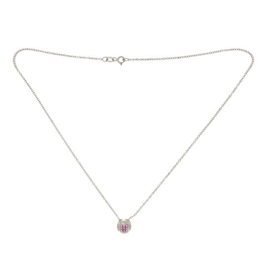 Luxo Jewelry 0.68 CT Natural Pink Sapphire 0.10 CT Diamonds 14K Gold Round Necklace Image 1