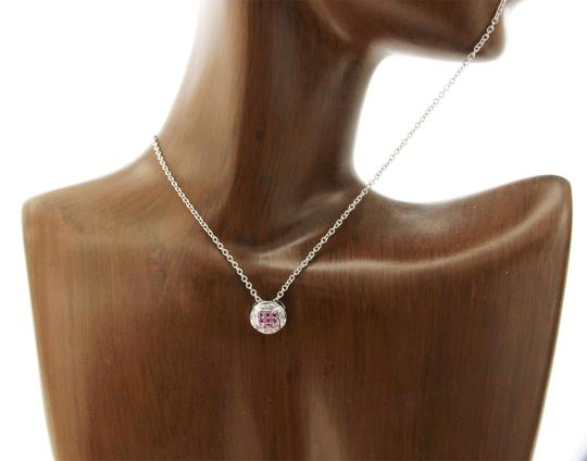 Luxo Jewelry 0.68 CT Natural Pink Sapphire 0.10 CT Diamonds 14K Gold Round Necklace Image 2