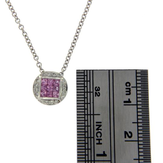 Luxo Jewelry 0.68 CT Natural Pink Sapphire 0.10 CT Diamonds 14K Gold Round Necklace Image 3