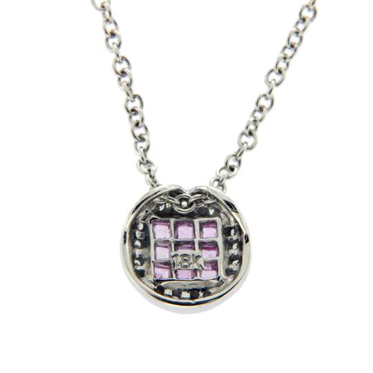 Luxo Jewelry 0.68 CT Natural Pink Sapphire 0.10 CT Diamonds 14K Gold Round Necklace Image 4