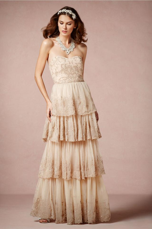 BHLDN Rosecliff Gown. Beigey Pink Color. Tumbling Tiers Of ...