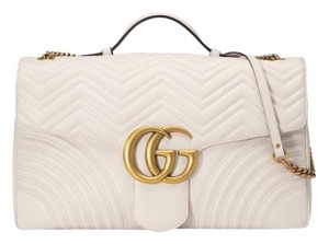 ae681991d4b5cb Added to Shopping Bag. Gucci Satchel in White. Gucci Shoulder Bag Marmont  466448 Gg Maxi Matelassé Top Handle White Quilted Leather Satchel