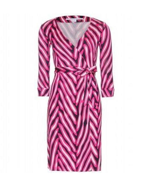 Item - Pink Black White Jersey Dvf New Julian Two Silk Wrap Herringbone Mid-length Casual Maxi Dress Size 12 (L)