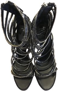 Giuseppe Zanotti Stiletto Strappy Italian Chain Limited Edition Black Sandals