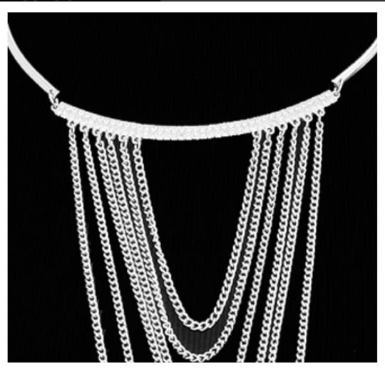 JEWELRYMAKEOVERPARTY Cascading Chains Choker Necklace with Rhinestone Accents Image 1