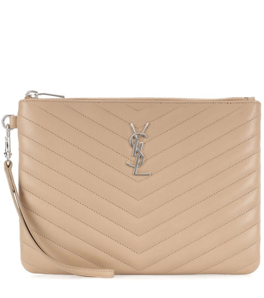 5879b962f5 Saint Laurent Quilted Matelasse Monogram Pouch Beige Calfskin Leather Clutch
