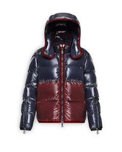 Moncler Cotinus Quilted Down Peacoat Colorblocked Coat